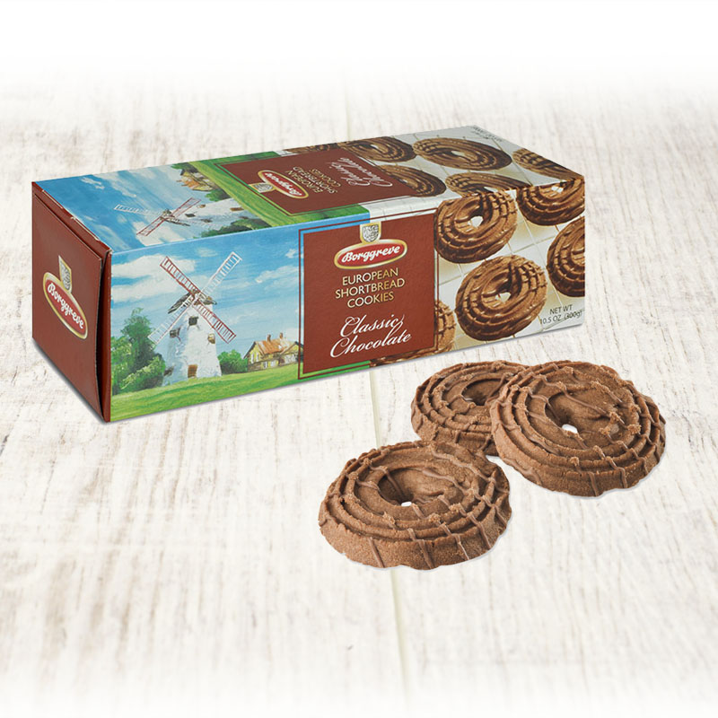 European Shortbread Cookies Classic Chocolate  - Borggreve rusk and biscuit factory, Germany