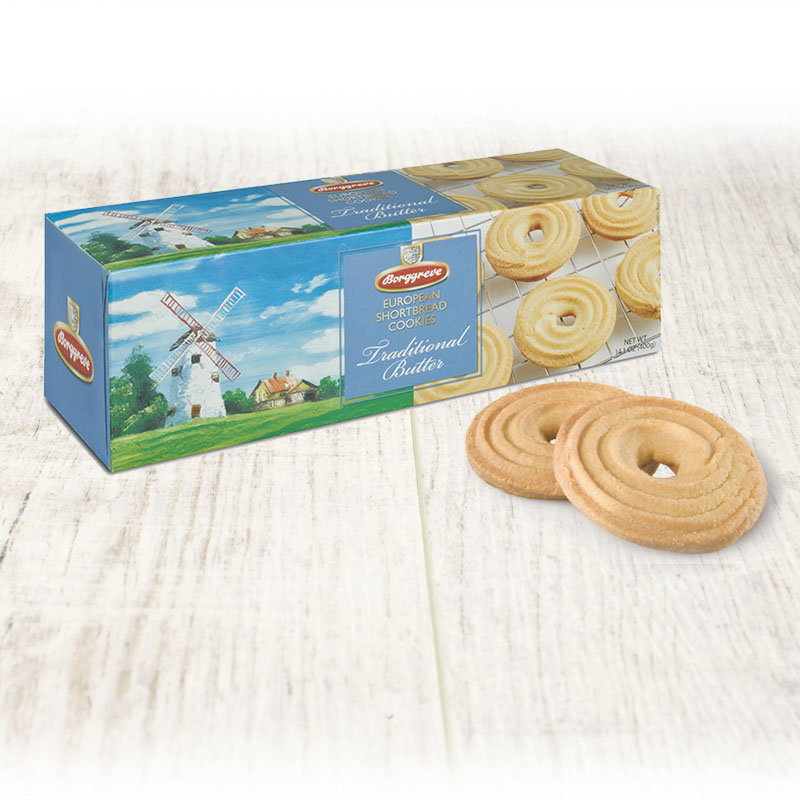 European Shortbread Cookies Traditional Butter. Shortbread biscuit rings - Borggreve rusk and biscuit factory, Germany