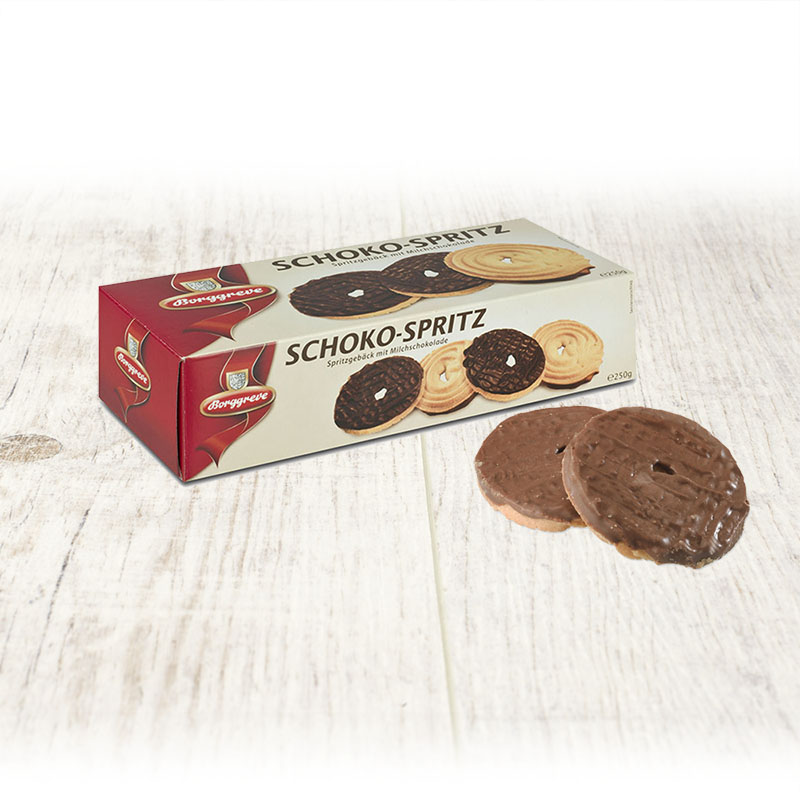 Short bread cookies with milk chocolate - Borggreve rusk and biscuit factory, Germany